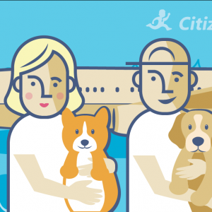 A woman and a men holding dogs in their hands, and an airplane at their back