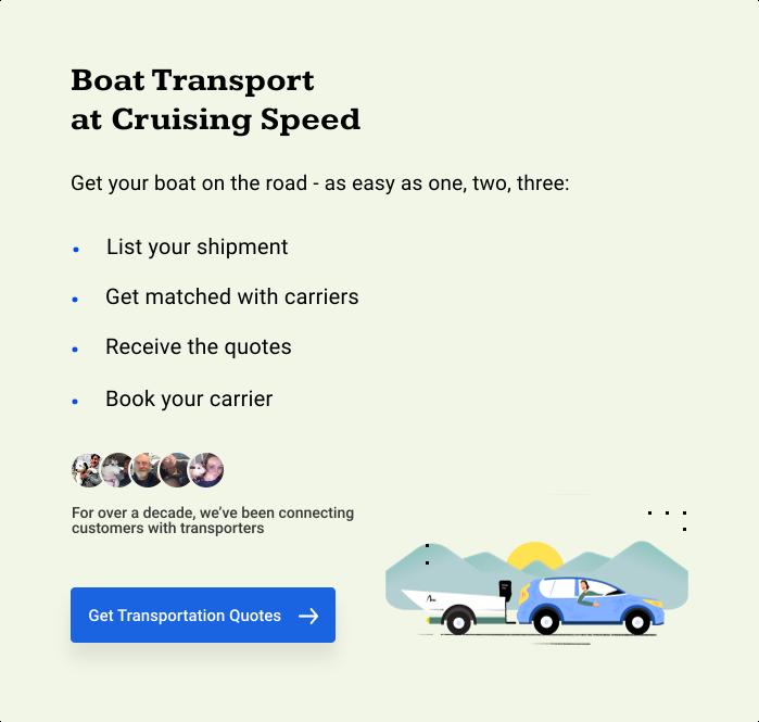 Boat transport at cruising speed
